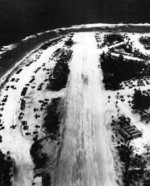 Aerial view of the airstrip facilities on Falalop Island, Ulithi Atoll, Caroline Islands, 1945. Falalop was the center of the aerial patrol efforts to protect the US Navy's forward anchorage at Ulithi.