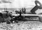 "B-24J of the 38th Bomb Squadron ""The Chambermaid"" managed to return to Saipan after being heavily damaged over Iwo Jima 11 Sep 1944. All crewmembers survived but all received the Purple Heart."