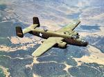 B-25C Mitchell bomber in flight over California, United States, 1942.