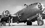 B-29 lost its prop in flight which carved hole in fuselage. Pilot made emergency landing and collided with parked aircraft causing further damage to nose and top turret. Date and location unknown. Photo 1 of 2.