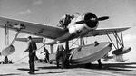 OS2U Kingfisher on a seaplane ramp, 1942-43; location unknown.