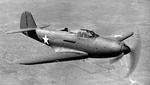 P-39 Airacobra fighter in flight, 1943.