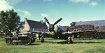 Razorback P-47 of the 355th Fighter Group at rest at Steeple Morden, Cambridgeshire, England, UK, 1943-44. Note Cletrac M-2 High Speed Tractor.