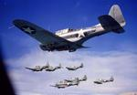Seven SBD Dauntless dive-bombers in flight, 1942-43.