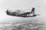 A Vultee A-35 Vengeance dive bomber in flight, Feb-Jun 1943.  This aircraft has undergone the target tug conversion that removed all armament