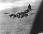 "B-17G Fortress ""Mizpah"" took a direct AAA hit in the nose on mission to Budapest, 14 Jul 1944. 2 were killed instantly but the pilot held her level long enough for crew to get out & become POW"
