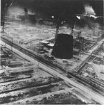 B-24 Liberator during low level attack of the Ploesti oil refineries, Ploesti Romania, Aug 1 1943.