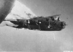 "Fuel tanks of the B-24H Liberator ""Little Warrior"" with the 861st Bomb Squadron explode over Fallersleben, Germany after anti-aircraft hit, Jun 29 1944. Photo taken by Clifford A Stocking, waist gunner on ""Green Hornet."""