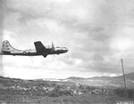 "B-29 Superfortress ""Tokyo Local"" 882nd Bomb Squadron taking off from Isley Field, Saipan, Sep-Nov1944."