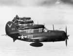 SB2C-4E Helldivers with Bombing Squadron 87 flying from USS Ticonderoga, May 1945