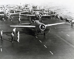 F4F-3 Wildcats of Fighting Squadron 6 get ready for launch from USS Enterprise, May 12 1942 while on their way toward the Battle of the Coral Sea (which was over before Enterprise could get there).