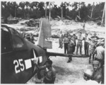 A badly damaged F4U-1A Corsair of Marine Squadron 216 flown by a wounded Lt Robert Marshall managed to return safely to Torokina, Bougainville, Solomons after an encounter with a swarm of A6M Zeros over Rabaul, New Britain, Dec 19 1943. Photo 4 of 5.