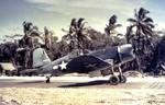 "F4U-1 Corsair in Marine Fighting Squadron 214 (the ""Black Sheep"") on the Marsden matting at Torokina airstrip, Bougainville, Solomons, Dec 1943."