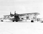 PBY-5 Catalina of Patrol Squadron 23 on Sand Island, Midway, 1942. Note the depth bombs loaded under the wings.