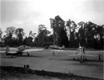 TBF-1 Avengers getting ready to take off from Piva airstrip, Bougainville, Solomons for a strike against Rabaul, New Britain, 1944. Note differences in the National Insignia.