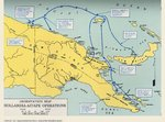 Map of eastern New Guinea showing Allied troops movements relating to the Hollandia-Aitape landings, Apr 1944.