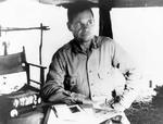 Marine Lt Col Chesty Puller in his command post on Guadalcanal, Solomon Islands, Sep 1942.