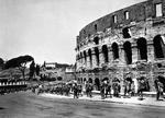 US Army soldiers march past the Colosseum in Rome, Italy, shortly after the German forces departed, Jun 5 1944.