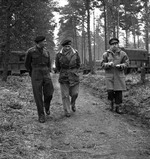 Lt General Guy Granville Simonds, Field Marshal Bernard Montgomery, and General Henry Crerar at Allied Headquarters, Feb 1945.