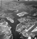 Pearl Harbor's Main Entrance Channel, Ford Island, and the Naval Shipyard, Oahu, Hawaii, Oct 2, 1951.
