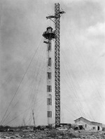 The 100-ft mooring mast on the Ewa Plain, Oahu, Hawaii during construction, 1925.