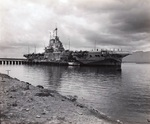 HMS Victorious moored at Berth F-10, Ford Island, Pearl Harbor, Oahu, Hawaii, Mar 4, 1943. The carrier was undergoing modifications for service during the period she was on loan to the US Fleet. Photo 1 of 2.
