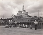 HMS Victorious moored at Berth F-10, Ford Island, Pearl Harbor, Oahu, Hawaii, Mar 4, 1943. The carrier was undergoing modifications for service during the period she was on loan to the US Fleet. Photo 2 of 2.