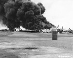 A B-29 Superfortress crashed during an attempted emergency landing on Iwo Jima Apr 24, 1945 and ran into nine P-51 Mustangs.