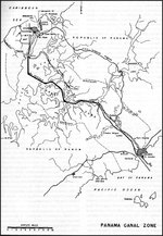 "Map of the Panama Canal Zone published in 1947 by the US Navy in ""Building the Navy"