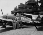 Aboard USS Ticonderoga, Navy Fighting-Bombing Squadron 87 takes possession of the 10,000th F6F Hellcat to be produced, 23 May 1945 at Ulithi.