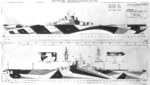 1944-45 plan for camouflage Measure 33, Design 10a on Essex-class fleet carriers. Of the 17 Essex-class carriers to see service during 1944-45, 4 were painted according to this plan.