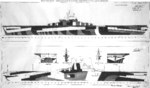 1944 plan for camouflage Measure 3, Design 6a on Essex-class fleet carriers. Of the 17 Essex-class carriers to see service during 1944-45, only 1 was painted according to this plan plus 1 with this only on one side