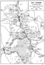 Map showing the plan of attack for US Army 80th Division on the city of Nancy, France, Sep 5-10, 1944.