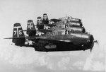 Experienced Avenger pilots of Attack Squadron VA-2A flying from USS Tarawa hold their TBM-3E's in close formation above San Diego, California, United States, 1946. The white canister under the right wing is a radar pod