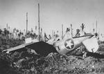 Overturned F4U-1 Corsair of Marine Squadron VMF-215 at the Munda Airstrip, New Georgia, Solomons, 1943