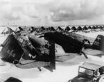 TBM-1C Avengers, F6F Hellcats, and SB2C Helldivers of Navy Carrier Air Group 18 from USS Intrepid at Peleliu, Nov 27, 1944.