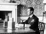 King George VI of the United Kingdom delivering his radio address announcing Britain's entry into the war with Germany, Buckingham Palace, London, England, UK, Sept 3, 1939 [staged press photo].