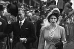 King George VI of the United Kingdom with his daughter and future queen, Princess Elizabeth, arriving at the Derby, Epsom Downs, England, United Kingdom, June 5, 1948.