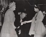 Prime Minister Winston Churchill and Clementine Churchill greeting Queen Elizabeth II as she arrives for dinner at 10 Downing Street, London, England, United Kingdom, April 4, 1955. Churchill resigned the following day