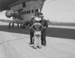 US Navy Captains Kassard and Vincent Astor during an inspection of Airship Patrol Squadron ZP-11 detachment at NAS Bar Harbor, Maine, United States, Jul 16, 1943. Note K-class gondola.