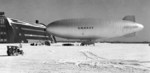US Navy K-class airship of Airship Patrol Squadron ZP-11 on a snow covered ramp at NAS South Weymouth, Massachusetts, United States, Feb 11, 1944.