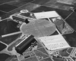 Aerial view of the Airship hangars at NAS Santa Ana, Tustin, California, United States, circa 1950. This base was home to Airship Patrol Squadron ZP-31 from Oct 1942 to Sep 1945 flying K-class airships.