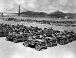 Willys MA Jeeps being readied for shipment lined up on Crissy Field, The Presidio, San Francisco, California, United States, 1941