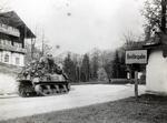 An M4 Sherman tank and men of the 3rd Infantry Division entering Berchtesgaden, Germany, May 4, 1945
