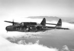 Northrop P-61B Black Widow night fighter with the 317th Fighter Squadron (All Weather) flies above the San Francisco fog over Sausalito, California, United States, Jun 23, 1948.