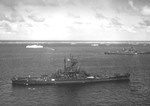 US Battleship South Dakota at anchor at Ulithi Atoll, 8 Dec 1944. Note Hospital Ship Samaritan above left and Battleship New Jersey at right.