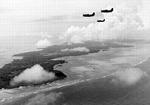 SB2C Helldivers flying from the carrier Yorktown (Essex-class) flying over Yap, Caroline Islands, July 25, 1944