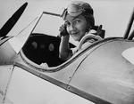 WASP Nancy Love in the cockpit of Fairchild PT-19 trainer, circa 1944, location unknown.