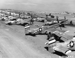 P-51D Mustangs of the 531st Fighter Squadron lined up at South Field, Iwo Jima, Mar 25, 1945