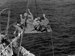 Wounded Marines being transferred aboard a ship for evacuation from Iwo Jima, Feb 19, 1945.